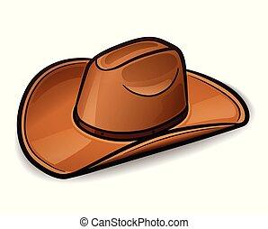 vector, sombrero vaquero, diseño, concepto