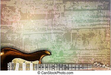 vector, sonido, ilustración, resumen, gris, guitarra,...