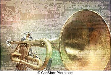 vector, sonido, ilustración, resumen, trompeta, gris,...