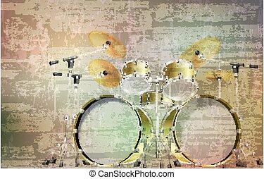 vector, sonido, ilustración, tambor, resumen, gris, grunge,...