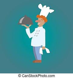 vector, sonriente, cocinero, chef, con, un, plato