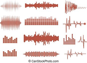 Vector sound waves set. Audio equalizer technology, pulse musical. Vector illustration of music pattern and texture