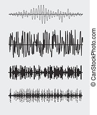 Vector sound waves set. Audio equalizer technology. Vector...