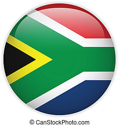 South Africa Flag Glossy Button - Vector - South Africa Flag...