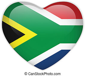South Africa Flag Heart Glossy Button - Vector - South...