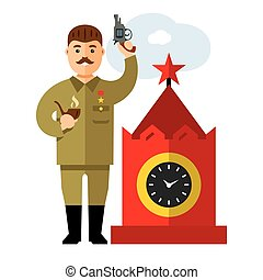 Vector Soviet leader parodic character. Flat style colorful ...