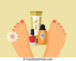 Vector spa feet flat illustration