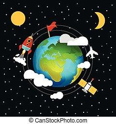 Vector space flat illustration