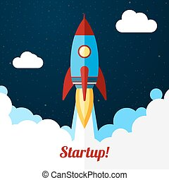 Vector. Space rocket launch. Concept for startups, releases ...