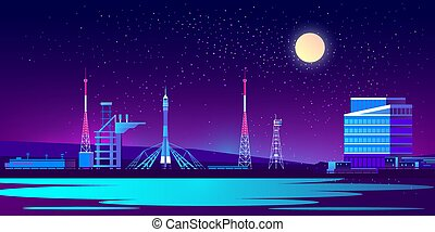 Vector spaceport, base at night with rocket