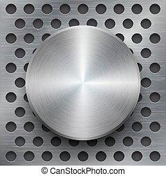 vector, spandoek, 3d, achtergrond, metalen