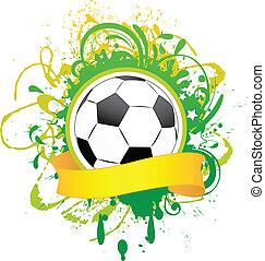 vector, spandoek, voetbal