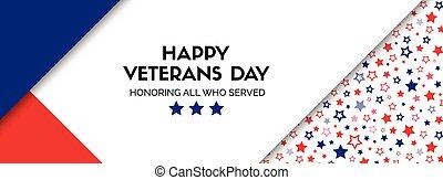 vector, spandoek, voor, veteranen, day., grootte