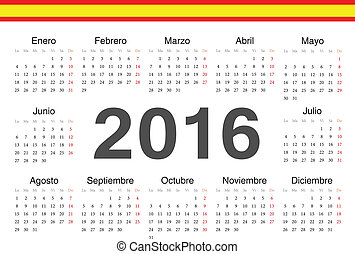 Vector spanish circle calendar 2016. Week starts from...