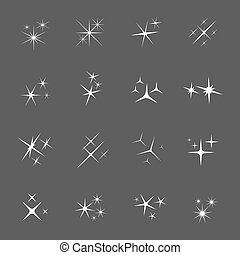 Vector sparkles icon set. Star element, light and bright...