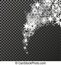 Vector sparkles white symbols on the dark background - star glitter, transparency stellar flare. Shining reflections.