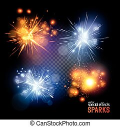 Vector Sparks. A set of vecotr electrical and fire sparks....