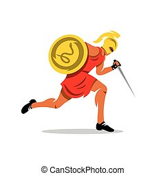 Vector Spartan Warrior Cartoon Illustration. - Gladiator in...