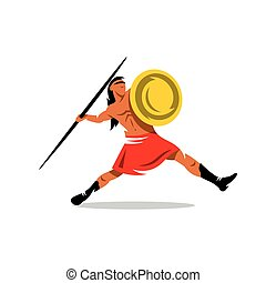 Vector Spartan Warrior Cartoon Illustration. - Gladiator...