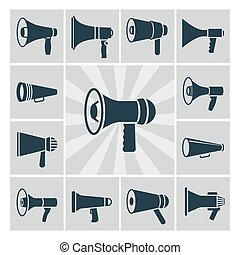 Vector speaker icons set. Flat megaphone silhouettes collection