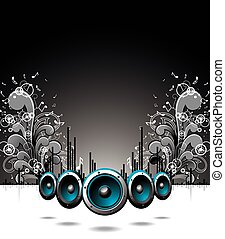 Vector speakers with grunge floral elements on a dark background.