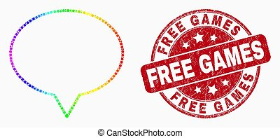 Vector Spectral Dot Banner Balloon Icon and Distress Free Games Watermark