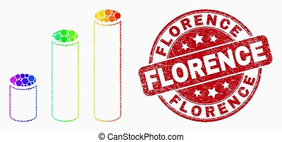 Vector Spectral Dot Cylinder Chart Icon and Scratched Florence Stamp Seal