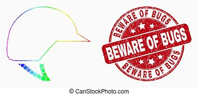 Vector Spectral Dot Motorcycle Helmet Icon and Grunge Beware of Bugs Seal