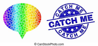 Vector Spectral Dotted Banner Balloon Icon and Distress Catch Me Stamp