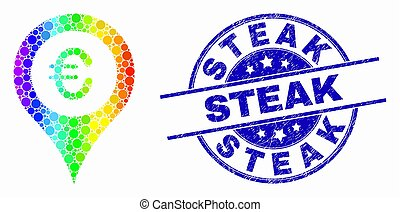 Vector Spectral Dotted Euro Map Marker Icon and Grunge Steak Stamp Seal