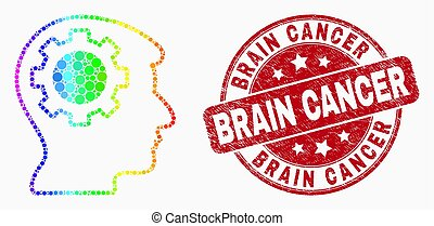 Vector Spectral Dotted Gear Thinking Head Icon and Grunge Brain Cancer Stamp Seal