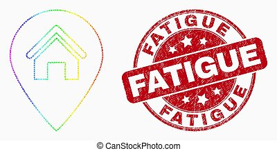 Vector Spectral Dotted House Map Marker Icon and Distress Fatigue Watermark