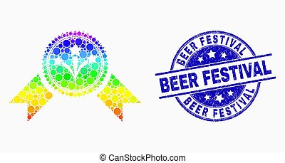 Vector Spectral Dotted Pyrotechnics Award Seal Icon and Scratched Beer Festival Watermark