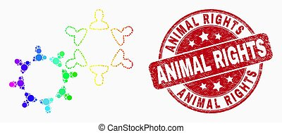 Vector Spectral Dotted User Collaboration Icon and Scratched Animal Rights Stamp