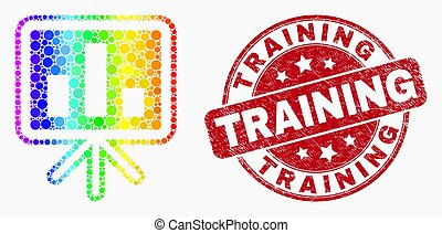 Vector Spectral Pixel Bar Chart Presentation Icon and Grunge Training Seal