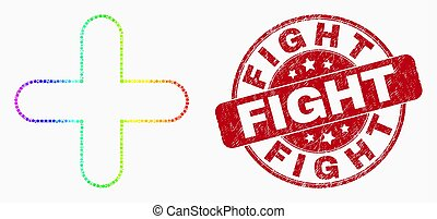 Vector Spectral Pixel Cross Icon and Distress Fight Seal