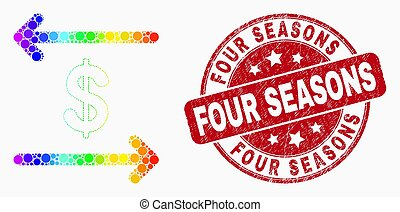 Vector Spectral Pixel Dollar Exchange Arrows Icon and Distress Four Seasons Watermark
