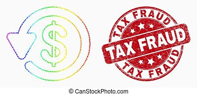 Vector Spectral Pixel Dollar Refund Icon and Grunge Tax...