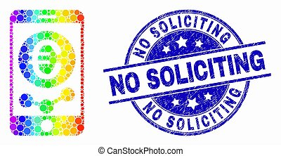 Dotted spectrum mobile euro chart mosaic icon and No Soliciting stamp. Blue vector round textured stamp with No Soliciting title. Vector collage in flat style.