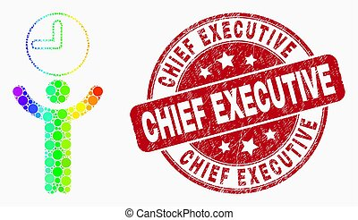 Vector Spectral Pixel Time Manager Icon and Scratched Chief Executive Stamp Seal