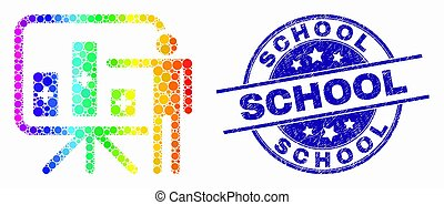 Vector Spectral Pixelated Bar Chart Presentation Icon and Scratched School Stamp Seal
