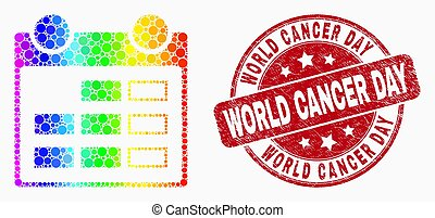 Vector Spectral Pixelated Calendar Page Icon and Grunge World Cancer Day Seal