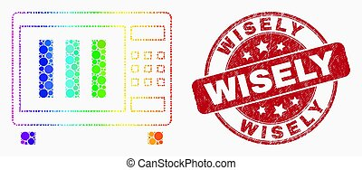 Vector Spectral Pixelated Microwave Oven Icon and Scratched Wisely Watermark