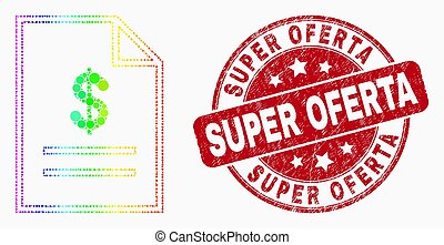 Vector Spectral Pixelated Price List Page Icon and Grunge Super Oferta Watermark