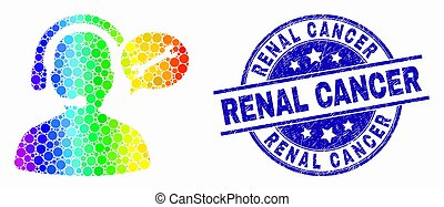 Vector Spectral Pixelated Service Operator Message Icon and Scratched Renal Cancer Watermark