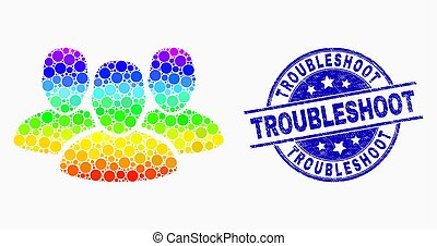 Vector Spectral Pixelated User Group Icon and Distress Troubleshoot Stamp Seal