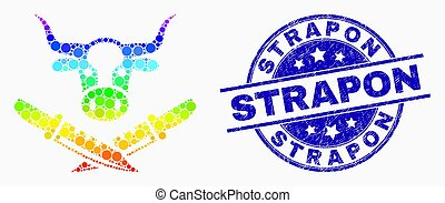 Vector Spectrum Dot Cow Butchery Icon and Scratched Strapon Stamp Seal
