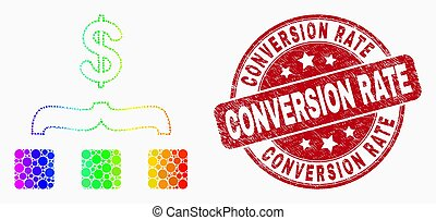 Vector Spectrum Dot Dollar Aggregation Icon and Distress Conversion Rate Watermark
