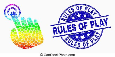 Vector Spectrum Dot Hand Press Action Icon and Grunge Rules of Play Stamp Seal
