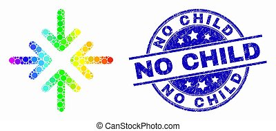 Vector Spectrum Dot Meeting Point Arrows Icon and Distress No Child Stamp Seal
